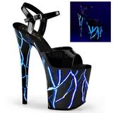 Blauw Neon 20 cm Pleaser FLAMINGO-809NLB Plateau Hoge Hakken