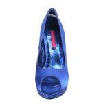 Blauw Satijn 13,5 cm BELLA-12R Pumps Schoenen met Strass Plateau