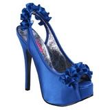 Blauw Satijn 14,5 cm Burlesque TEEZE-56 Plateau Sandalen met Hoge Hak