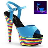 Blauw Vernis 15 cm DELIGHT-609RBS Sandalen met Neon Plateau