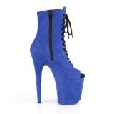 Blauw faux suede 20 cm FLAMINGO-1021FS paaldans enkellaarsjes