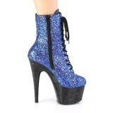 Blauw glitter 18 cm ADORE-1020MG pole dance enkellaarzen met hoge hakken