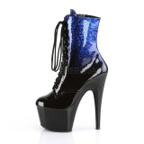 Blauw glitter 18 cm ADORE-1020OMB paaldans enkellaarsjes met hoge hakken