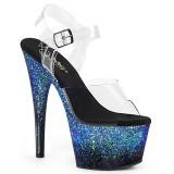 Blauw glitter 18 cm ADORE-708SS paaldans schoenen met hoge hakken