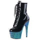 Blauw glitter 18 cm Pleaser ADORE-1020LG paaldans enkellaarsjes met hoge hakken
