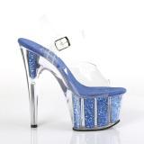Blauw glitter 18 cm Pleaser ADORE-708G paaldans schoenen met hoge hakken