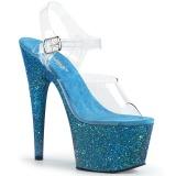 Blauw glitter 18 cm Pleaser ADORE-708LG paaldans schoenen met hoge hakken