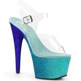 Blauw glitter 18 cm Pleaser ADORE-708OMBRE paaldans schoenen met hoge hakken