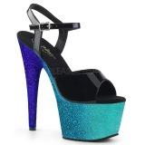 Blauw glitter 18 cm Pleaser ADORE-709OMB paaldans schoenen met hoge hakken