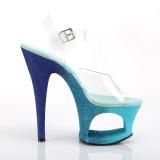 Blauw glitter 18 cm Pleaser MOON-708OMBRE paaldans schoenen met hoge hakken