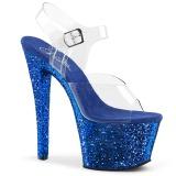 Blauw glitter 18 cm Pleaser SKY-308LG paaldans schoenen met hoge hakken