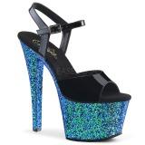 Blauw glitter 18 cm Pleaser SKY-309LG paaldans schoenen met hoge hakken