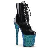 Blauw glitter 20 cm FLAMINGO-1020LG paaldans enkellaarsjes met hoge hakken