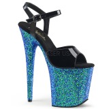 Blauw glitter 20 cm Pleaser FLAMINGO-809LG paaldans schoenen met hoge hakken
