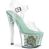 Blauw plateau 18 cm SKY-308CF transparante hakken - pole dance schoenen