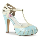Blue 11,5 cm BETTIE-25 Pinup pumps with hidden platform