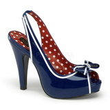 Blue 11,5 cm retro vintage BETTIE-05 Womens Shoes with High Heels