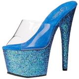 Blue 18 cm ADORE-701LG glitter platform mules womens