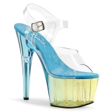 Blue 18 cm ADORE-708MCT Acrylic platform high heels shoes