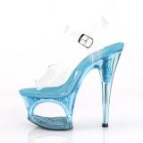 Blue 18 cm MOON-708GFT glitter platform sandals shoes