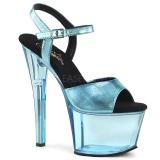 Blue 18 cm SKY-309MT2 Acrylic Platform High Heeled Sandal