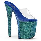 Blue 20 cm FLAMINGO-801LG glitter platform mules womens