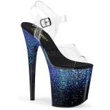 Blue 20 cm FLAMINGO-808SS glitter platform sandals shoes