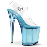 Blue 20 cm FLAMINGO-808T Acrylic Platform High Heeled Sandal