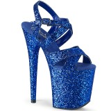 Blue 20 cm FLAMINGO-897LG glitter platform high heels shoes