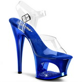 Blue Transparent 18 cm MOON-708DMCH High Heels Platform