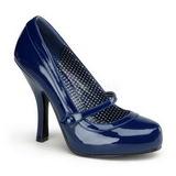 Blue Varnished 12 cm retro vintage CUTIEPIE-02 mary jane pumps with hidden platform