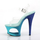 Blue glitter 18 cm Pleaser MOON-708OMBRE Pole dancing high heels shoes