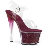 Bordeaux 18 cm SKY-308G-T glitter plateau sandalen met hak