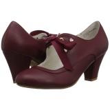 Bordeaux 6,5 cm WIGGLE-32 Pinup pumps schoenen met blokhak