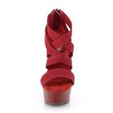 Bordeaux elastische band 15 cm DELIGHT-669 pleaser schoenen met hak