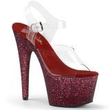 Bordeaux glitter 18 cm Pleaser ADORE-708HMG paaldans schoenen met hoge hakken
