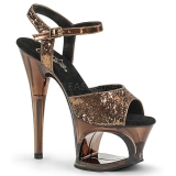 Bronze 18 cm MOON-710GT glitter platform high heels shoes