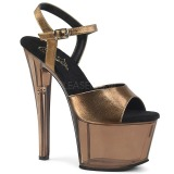 Bronze 18 cm SKY-309MT Acrylic Platform High Heeled Sandal