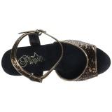 Bronzen 18 cm MOON-710GT glitter plateau schoenen dames met hak