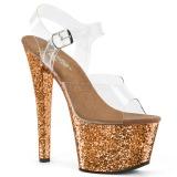 Bronzen glitter 18 cm Pleaser SKY-308LG paaldans schoenen met hoge hakken