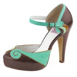 Brown 11,5 cm BETTIE-17 Pinup pumps with hidden platform