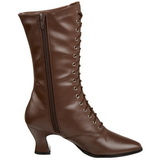 Brown 7 cm VICTORIAN-120 Lace Up Ankle Calf Women Boots