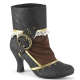 Brown Black Microfiber 7,5 cm MATEY-115 Retro Ankle Calf Boots
