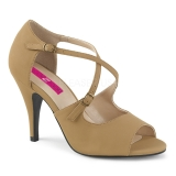 Brown Leatherette 10 cm DREAM-412 big size sandals womens