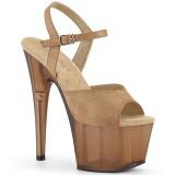 Brown Leatherette 18 cm ADORE-709T platform pleaser sandals