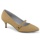 Brown Leatherette 6,5 cm KITTEN-03 big size pumps shoes