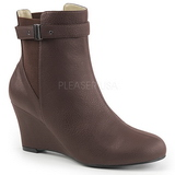 Brown Leatherette 7,5 cm KIMBERLY-102 big size ankle boots womens