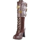 Bruin 10 cm CRYPTO-302 plateau laarzen dames met gespen