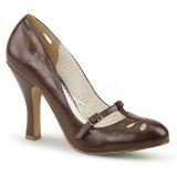 Bruin 10 cm SMITTEN-20 Pinup pumps schoenen met lage hakken