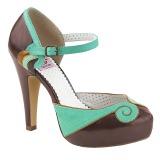 Bruin 11,5 cm BETTIE-17 Pinup pumps schoenen met verborgen plateauzool